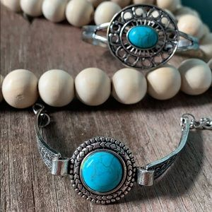 Chunky Turquoise bracelet/cuffs --new